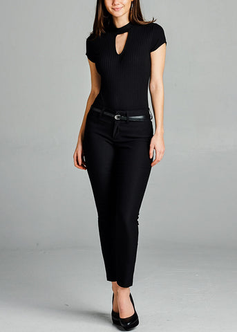 Image of Black Belted Dress Pants