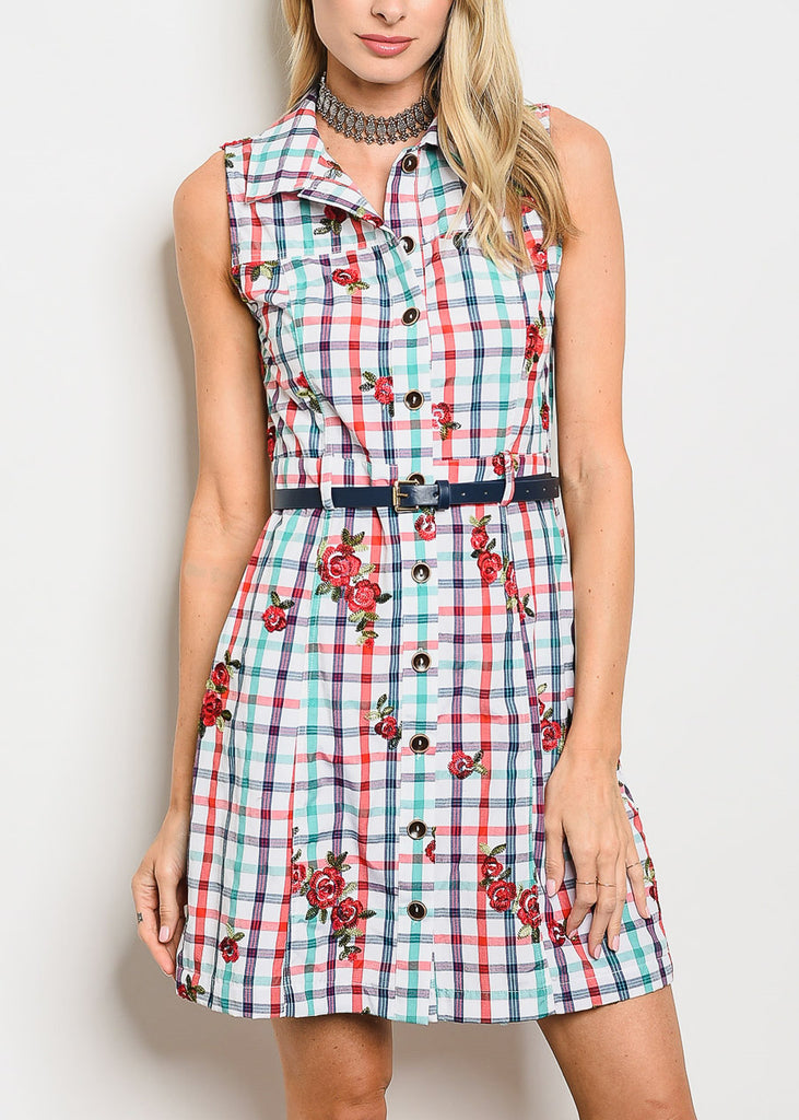 Floral & Plaid Button Up Dress