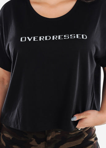 Overdressed Short Sleeve Round Neck Basic Graphic Black Cropped T Shirt Top For Women Ladies Junior