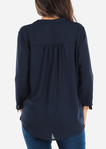 Image of Navy Two Button Blouse