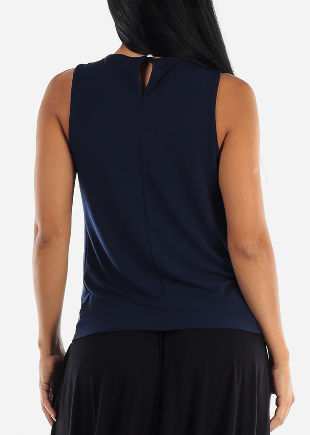 Sleeveless Navy Pleat Top