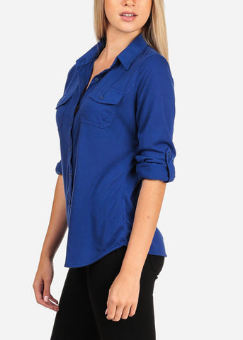 Image of Women's Junior Lady Casual Formal Business Career Wear 3/4 Sleeve Button Up Blue Shirt