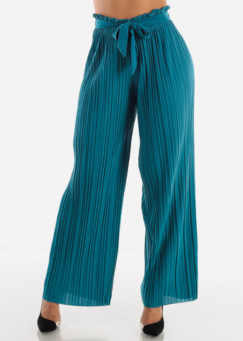 Teal Pleated Wide Legged Pants