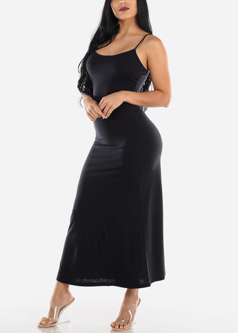 Spaghetti Strap Black Maxi Dress