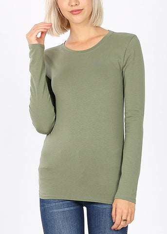Basic Long Sleeve Olive Top