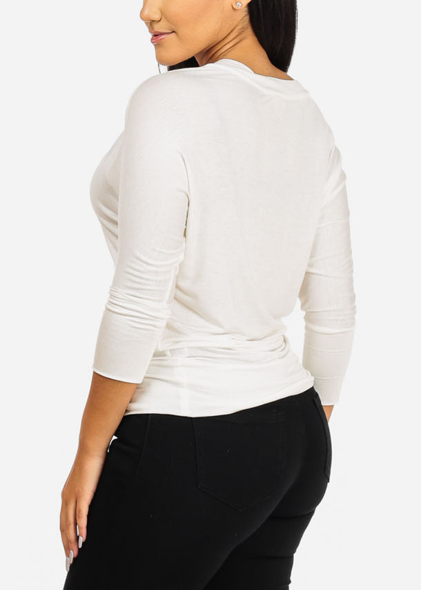 White V-Neckline StretchyBlouse