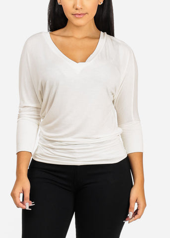 Image of White V-Neckline StretchyBlouse
