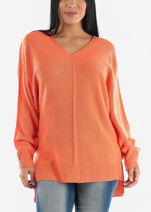 V-Neck Knitted Coral Sweater