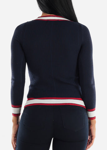 Long Sleeve Ribbed Navy Sweater
