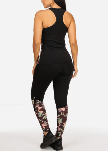 Army Print Workout Set- Leggings Top Jacket (3 PCE SET)