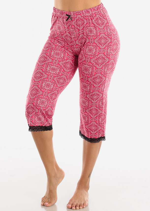 Women's Red Capris Pajama Pants