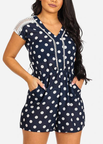 Image of Cute Navy Flowy Polka Dot Crochet Detail Romper