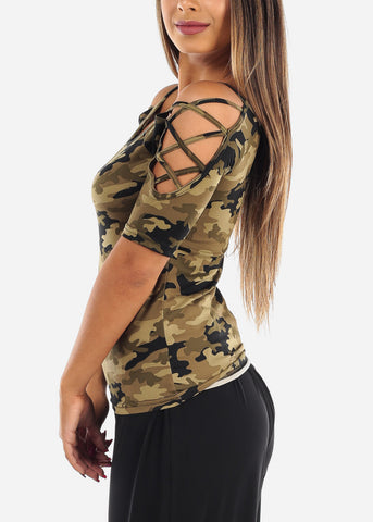 Image of Women's Junior Ladies Casual Strappy Lace Up sleeves Stretchy Camouflage Top