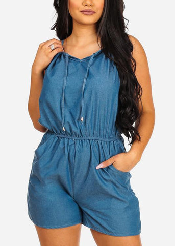 Image of Stylish Flowy Sexy Halter Med Wash Denim Romper
