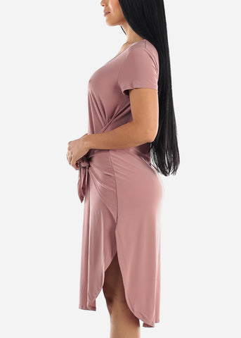 Image of Tie Waist Mauve Dress