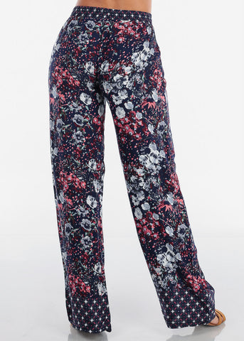 Image of High Rise Navy Floral Pants
