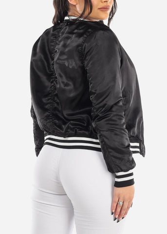 Image of Black Satin Bomber Jacket