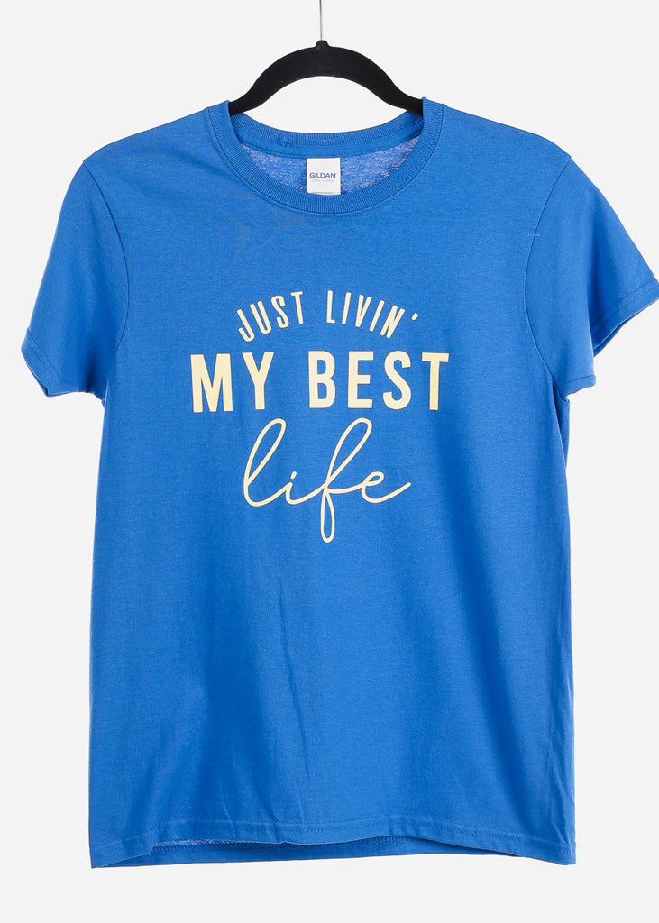 "Royal Blue Graphic Top ""Just Livin"""