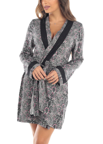 Long Sleeve Open Tie Front Grey Printed Sleepwear Bathrobe Robe