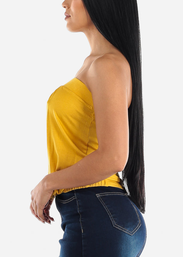 Strapless Pleated Mustard Top