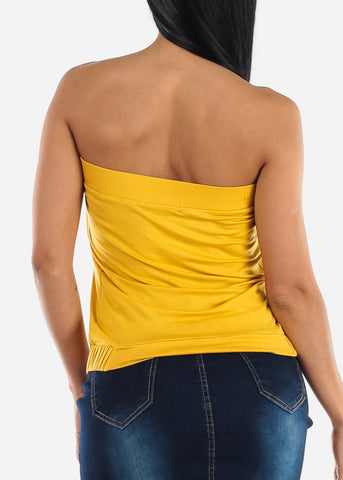 Image of Strapless Pleated Mustard Top