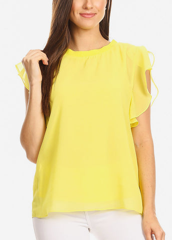 Ruffle Sleeves Yellow Chiffon Blouse