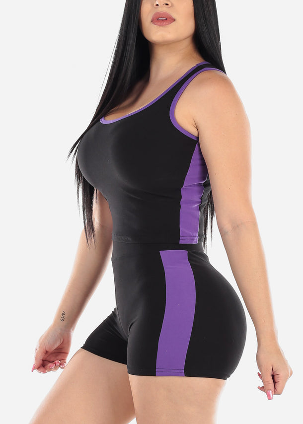 Activewear Purple Trim Top & Shorts (2 PCE SET)