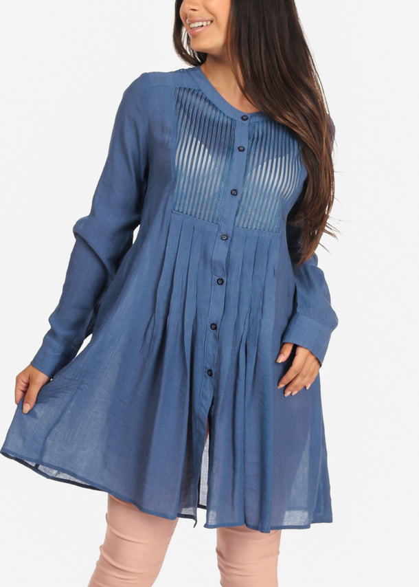 Women's Junior Ladies Casual Lightweight Long Sleeve Button Up Solid Baby Blue Tunic Top