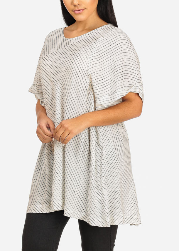 Stripe Tunic Top W Back Slit