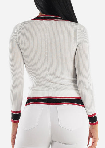Long Sleeve Ribbed White Sweater