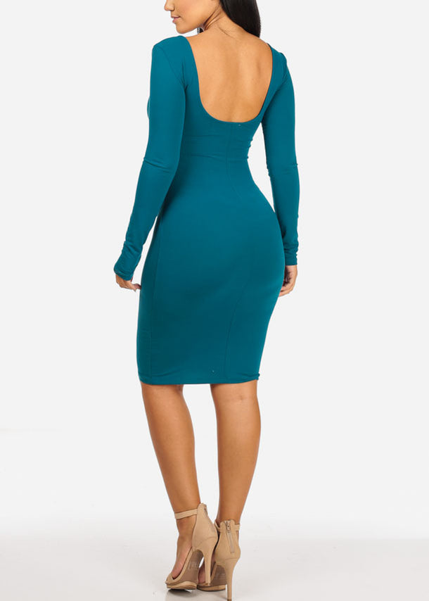 Stylish Teal Bodycon Dress