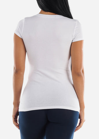 V-Neck Basic T-Shirt (White)