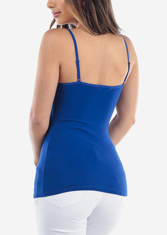 Image of Essential Basic Solid Royal Blue Tank Top On Sale Discounted Tops