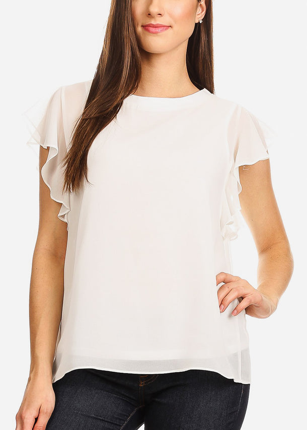 Ruffle Sleeves White Chiffon Blouse