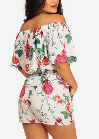 Image of Floral Print White Romper