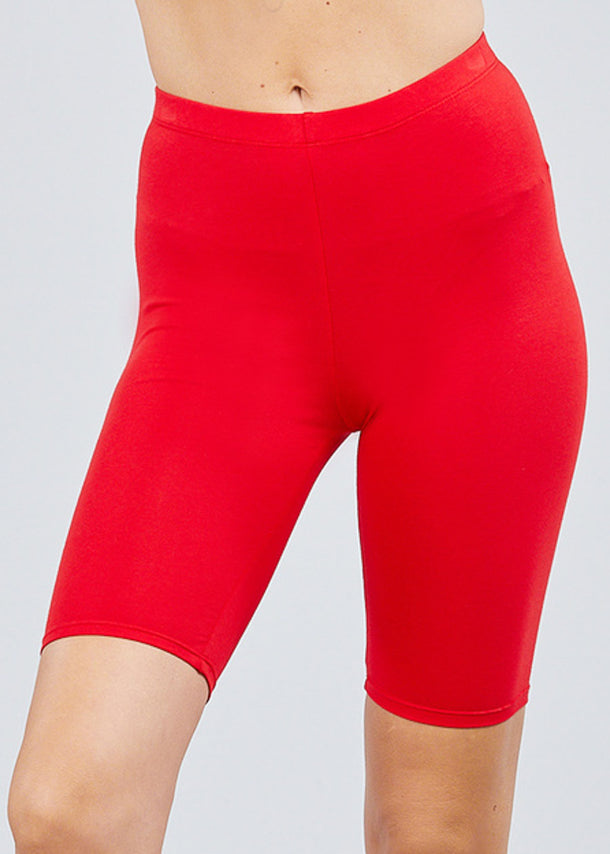 Basic Red Biker Shorts