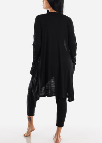 Long Sleeve Black Maxi Cardigan