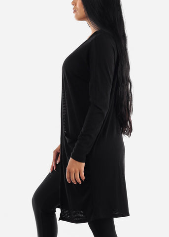 Image of Long Sleeve Black Maxi Cardigan