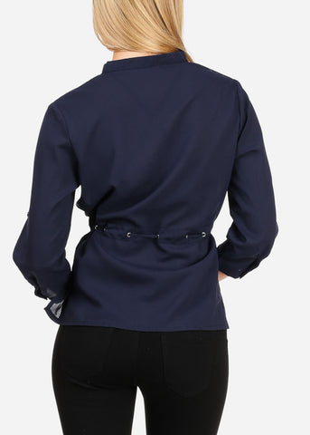 Image of Women's Junior Lady Casual Going Out Stylish Cute Chiffon 3/4 Sleeve Navy Blouse With Lace Up Detail