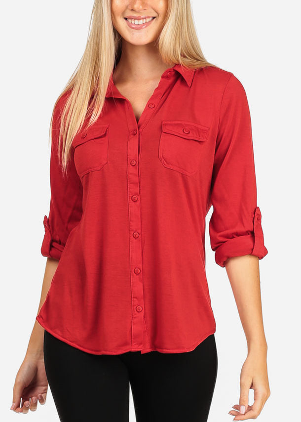 Women's Junior Lady Casual Formal Business Career Wear 3/4 Sleeve Button Up Red Shirt