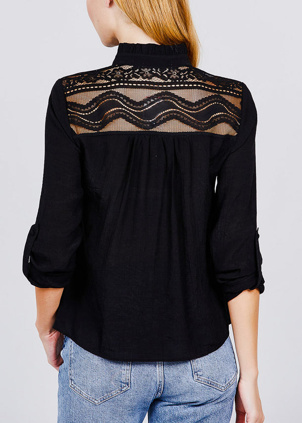 Black Lace Button Up Shirt