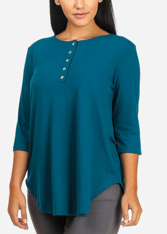 Stretchy Button Up Teal Top