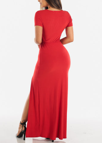 Sexy Stylish Cute Short Sleeve Flowy Wrap Front Long Maxi Red Summer Dress For Women Ladies Junior On Sale