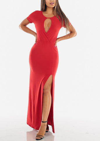 Image of Sexy Stylish Cute Short Sleeve Flowy Wrap Front Long Maxi Red Summer Dress For Women Ladies Junior On Sale