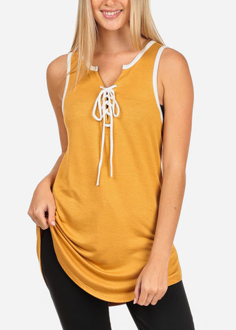 Women's Junior Ladies Casual Sporty Sleeveless Lace Up V Neckline Super Stretchy Comfy Mustard Sleeveless Tank Tunic Top