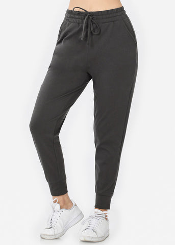 Image of Cotton Ash Grey Jogger Sweatpants
