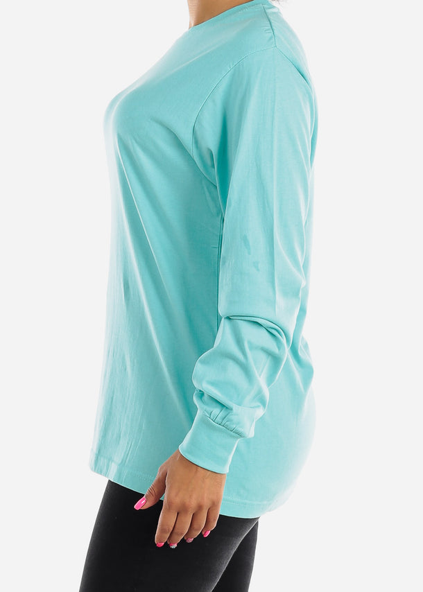 Long Sleeve Crew Neck Sea Blue Top