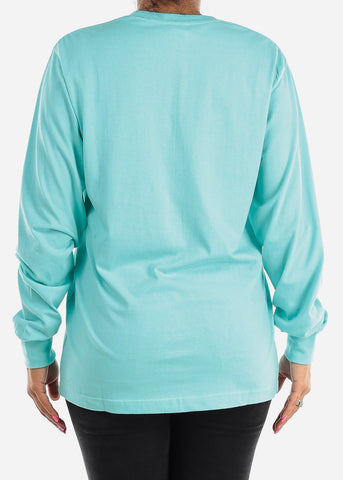 Image of Long Sleeve Crew Neck Sea Blue Top