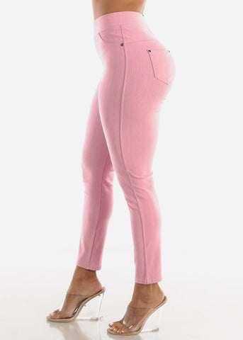 Image of Pink High Waisted Skinny Pants