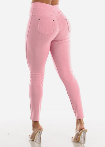 Pink High Waisted Skinny Pants